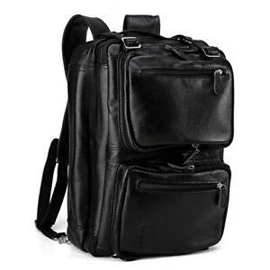 14''laptop dos cuir à bandoulière pour homme en noir Sac à 0wmNvy8nO