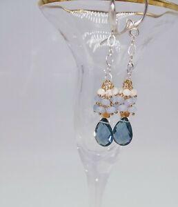 Sterling-Silver-London-Blue-Topaz-Cluster-Earrings