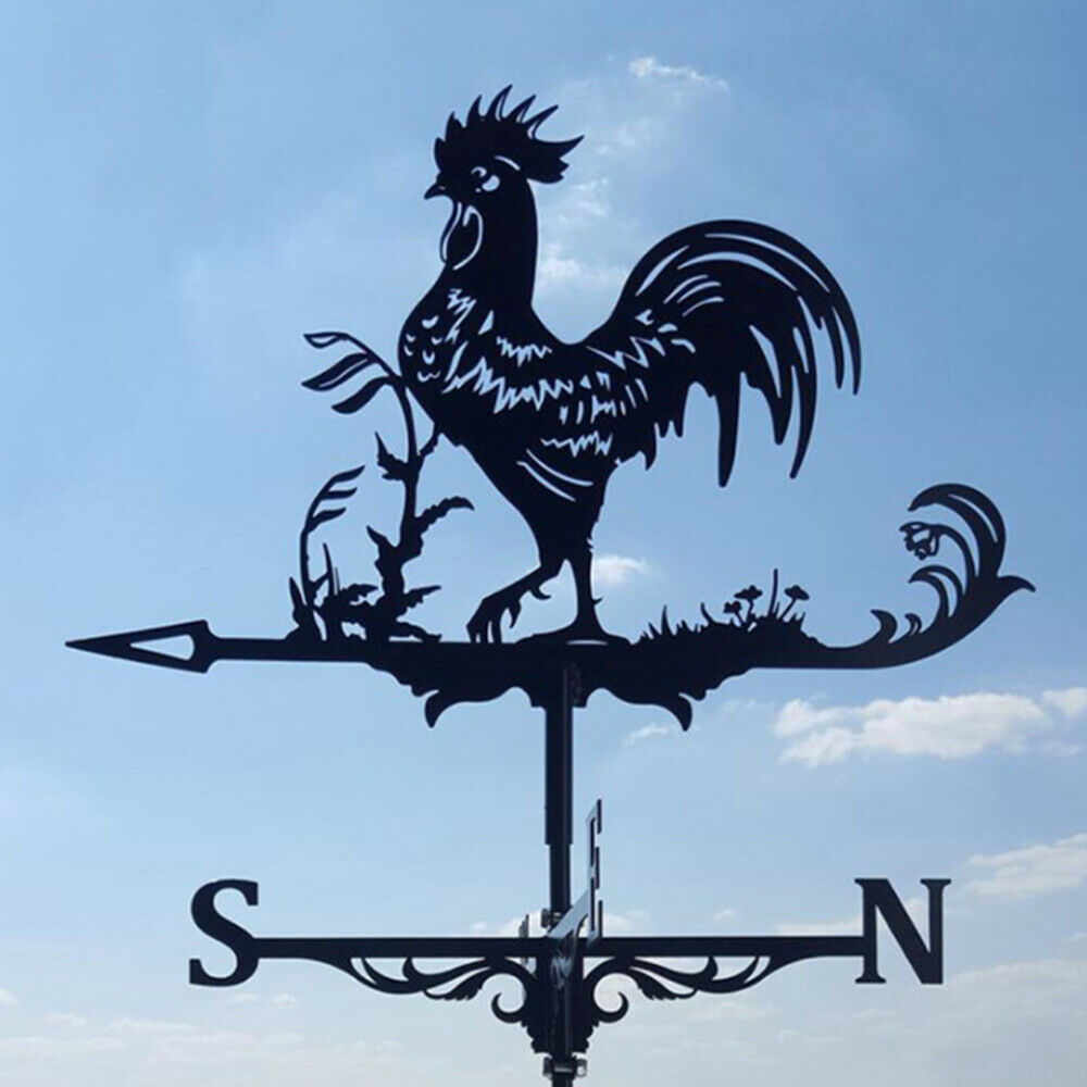 Stainless Steel Rooster Weathervane Weather Vane Wind Direction Indicator