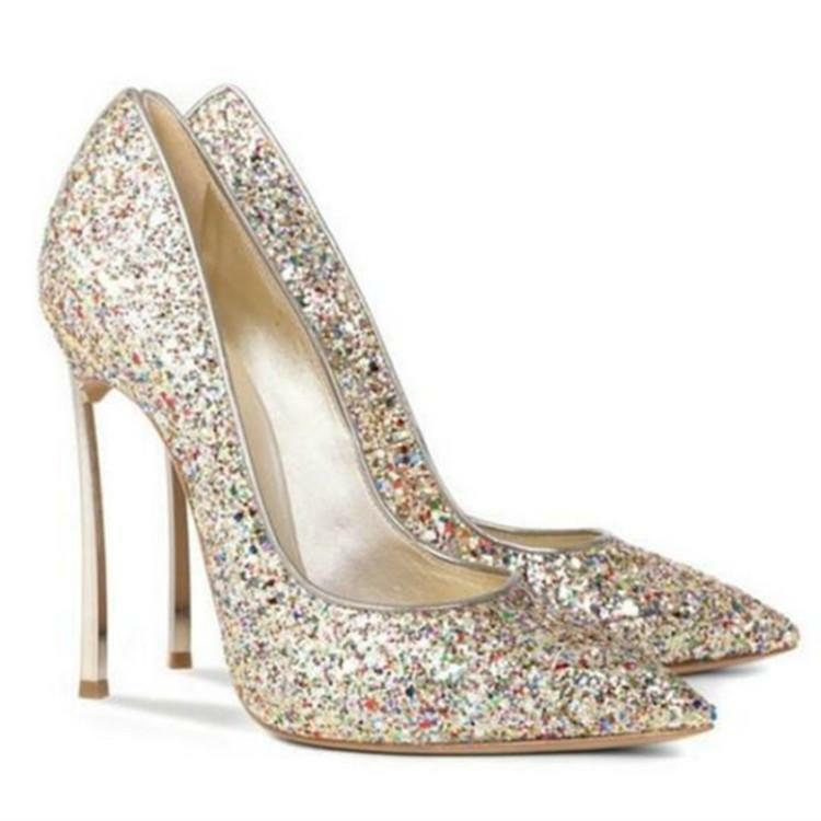 Sexy Donna Sequins Bling Wedding Bridal Pumps Pointed Toe Stilettos Shoes W421