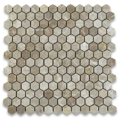 F31XP Emperador Light 1 inch Hexagon Mosaic Tile Polished