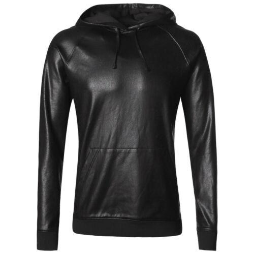 Men Fuax Leather Sweatshirt Hoodie Pullover Jumper Coat Jacket Hip-hop Tops