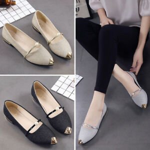 Women-Pointed-Toe-Oxfords-Ladise-Casual-Low-Heel-Flat-Shoes-Loafer-Glowed-Dressy
