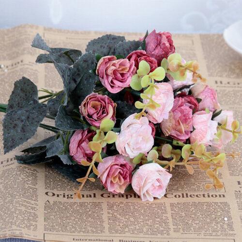 Rose Silk Fake Flower Bouquet Artificial Wedding Party Floral Home Decor Lot