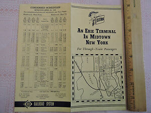 1940 Nyc Subway Map.Details About Vintage 1940 New York City Subway Map Nyc Erie Railroad Midtown Terminal