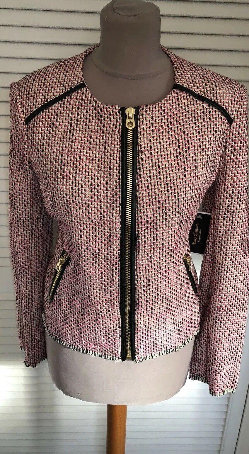 JUCY COUTURE Rose Laine Tweed Fermeture Éclair Veste Petit Royaume-Uni (10) NEUF ÉTIQUETTE