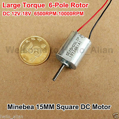 Minebea DC 12V 6500RPM Large Torque 6-Pole Roto Micro 15MM*15MM Square DC Motor