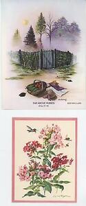 VINTAGE-GARDEN-GATE-1-HUMMINGBIRD-BEE-LANTANA-FLOWER-BOTANICAL-PRINT-NOTE-CARD