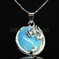 """White Fire Opal Zircon Women Jewelry Gemstone dragon Pendant 1"""""""