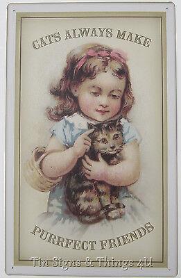 Purrfect Friend TIN SIGN metal art print vtg cat lover girl child wall decor OHW