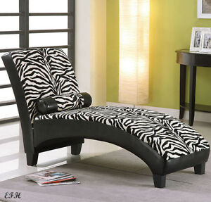 cohoe contemporary zebra print black bycast leather chaise lounge accent chair ebay. Black Bedroom Furniture Sets. Home Design Ideas