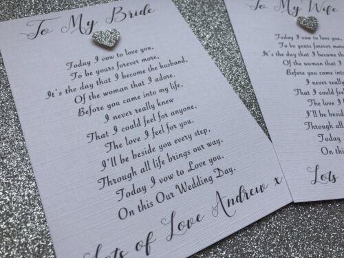 Personalised To My Bride Wife Wedding Day Card Poem Envelope
