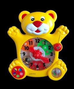 Vintage-1989-Redbox-Activity-Learning-Clock-Yellow-Bear-Toddler-Toy-Excellent