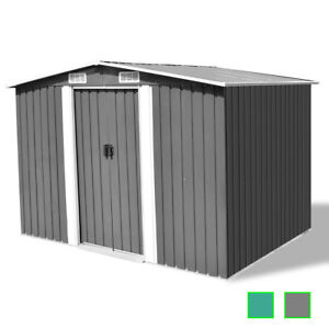 vidaXL Caseta de Almacenaje de Jardín de Metal 257x205x178 cm Gris/Verde