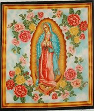 """Our Lady of Guadalupe 9.5""""x 11"""" quilt block square *8A Religious Catholic Fabric"""
