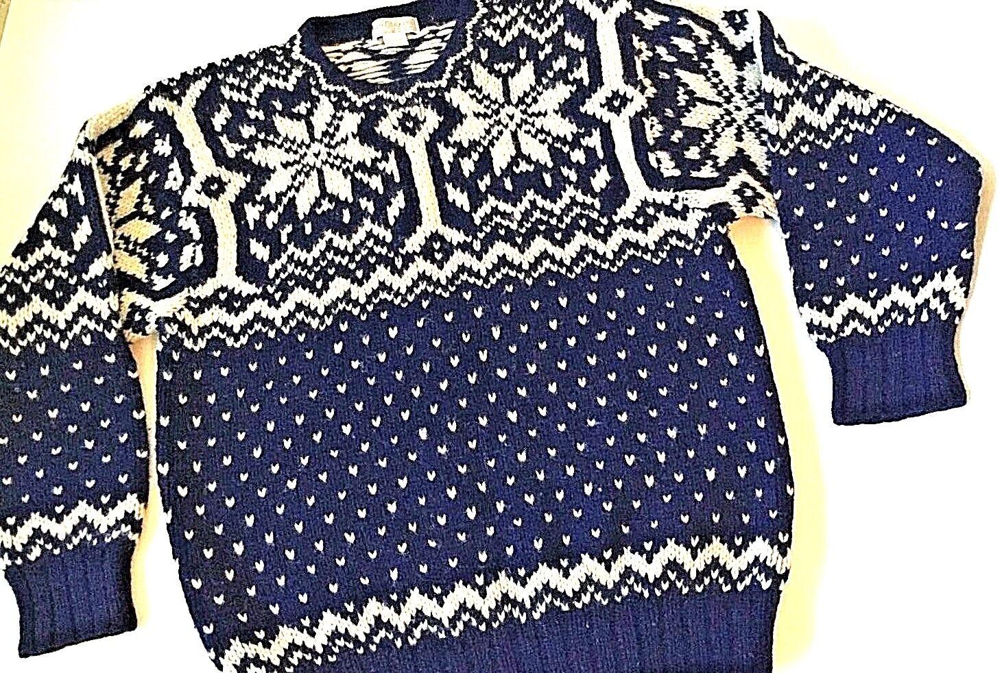 Mens Wool Fishermen Sweater Large bluee and White Nordic Fair Isle CARTE whiteHE