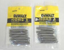 12 DEWALT #2 Phillips + #8 Slotted Double Ended Driver Bit Tips, 2 Packs, DW2024