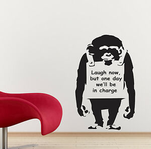 BANKSY-pegatinas-de-pared-Monkey-calcomanias-Arte-Ba10