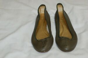 J-Crew-Green-Leather-Women-039-s-Ballet-Flats-Size-10-Made-in-Italy