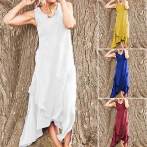 ZANZEA-Women-039-s-Sleeveless-Summer-Tank-Dress-Asymmetrical-Waterfall-Shirt-Dress