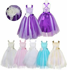 Flower-Girl-Dress-Kids-Birthday-Wedding-Bridesmaid-Pageant-Gown-Formal-Dress
