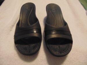 94c4c591247d Image is loading Women-039-s-Crocs-Black-Slide-WEdge-Sandals-