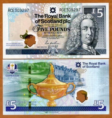 2014 P-New 5 pounds Hybrid Polymer UNC /> Ryder Cup Scotland Royal Bank