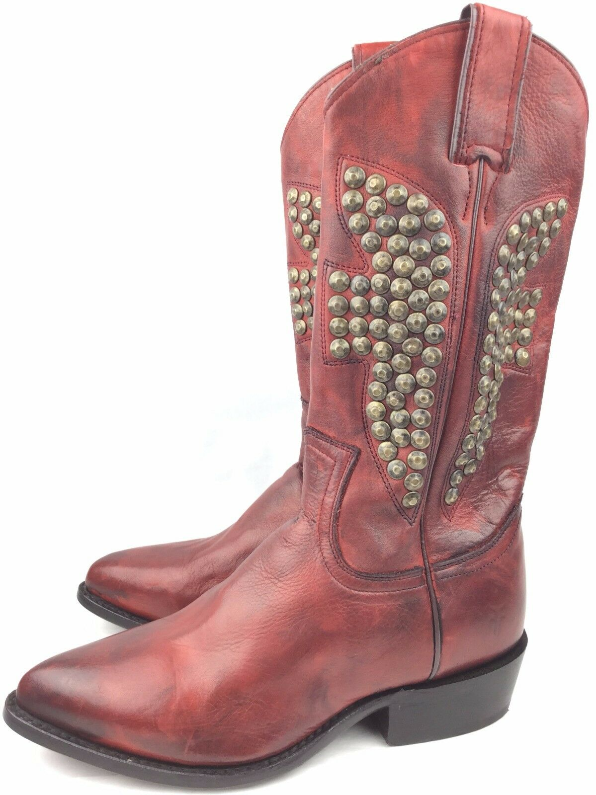 Frye Billy Hammered Stud Burnt Red Soft Vintage Leather 77586 Boots sz: US 6