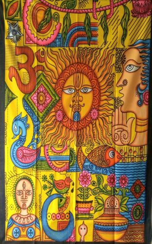 Wall Hanging Hippie Ethnic Sun Sign /&om With Multiple Design Twin Size Tapestry