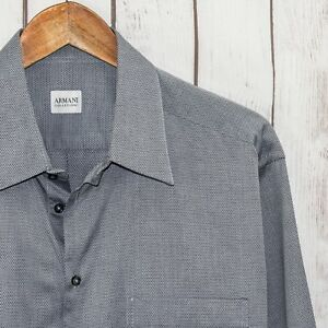 ARMANI-Collezioni-Men-039-s-Button-Front-Dress-Shirt-Gray-Mini-Print-Size-16-1-2-R