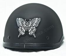 Butterfly Rhinestone Helmet Patch Silver 3M Decal Biker MX ATV Sticker Racing +