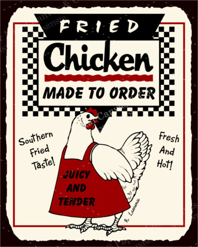 Fried Chicken To Order Vintage Metal Art Meat Deli Retro Tin Sign VMA-L-6558