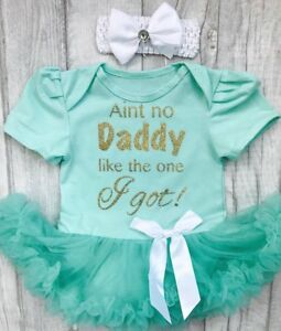 Baby Girls Daddy Quote Tutu Dress Newborn Present Love Princess Cute