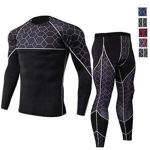 Men-039-s-Compression-Legging-Shirt-Quick-dry-Gym-Tight-fit-Athletic-Dri-fit-Bottoms