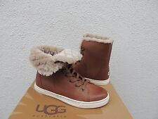 UGG CHESTNUT CROFT LUXE QUILT LEATHER SHEEPSKIN ANKLE BOOTS, US 9/ EUR 40 ~NIB