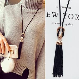 Women-Exquisite-Long-Winter-Sweater-Black-Chain-Tassel-Long-Chain-Necklace-UK