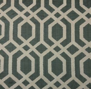 Image Is Loading Ballard Designs Halyard Mineral Embroidered Lattice Upholstery Fabric