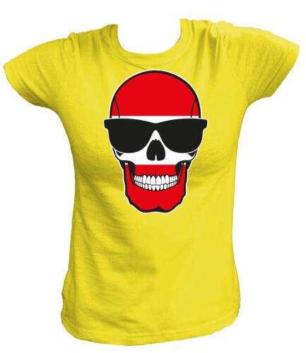 Damen T-Shirt SKULL FLAG FLAGGE FAHNE Österreich Austria Wien Vienna Fußball