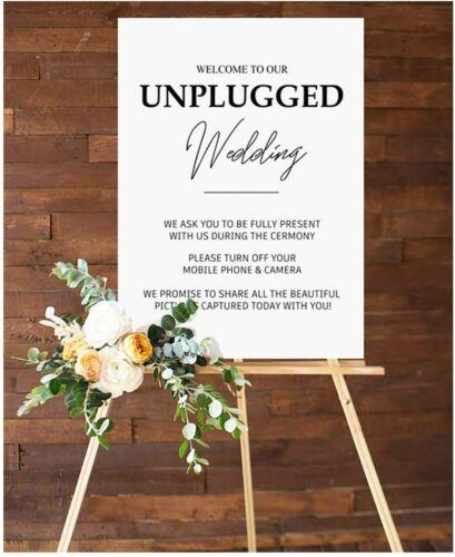 Party Supplies Reception /& Ceremony Wedding Decor Unplugged Wedding Sign