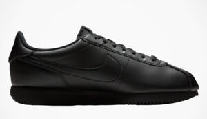 brand new 40865 e0ff2 Details about NIKE MENS CORTEZ BASIC LEATHER ALL BLACK CLASSIC SHOES