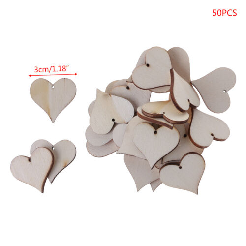 50pcs Wooden Love Heart Slices Blank Name Tags Art Craft Wedding DIY Card Making
