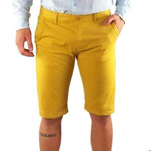 Bermuda-Uomo-Cotone-Slim-Fit-Senape-Jeans-Pantalone-Corto-Shorts-Pantaloncini
