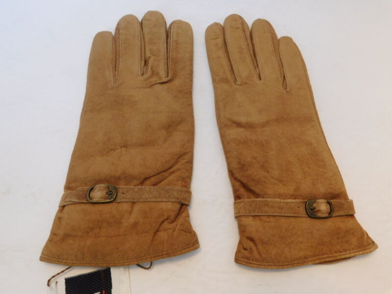 Impartial Liden Ladies Camel Washable Suede Winter Gloves Acrylic Lining Size M