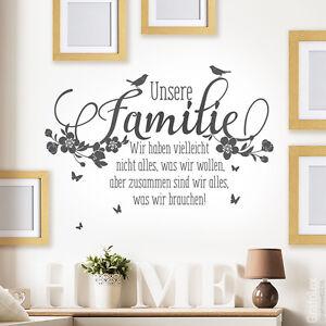 Wandtattoo unsere familie zitate spruch wandaufkleber wanddeko wandbild ws16c ebay - Wandbild familie ...