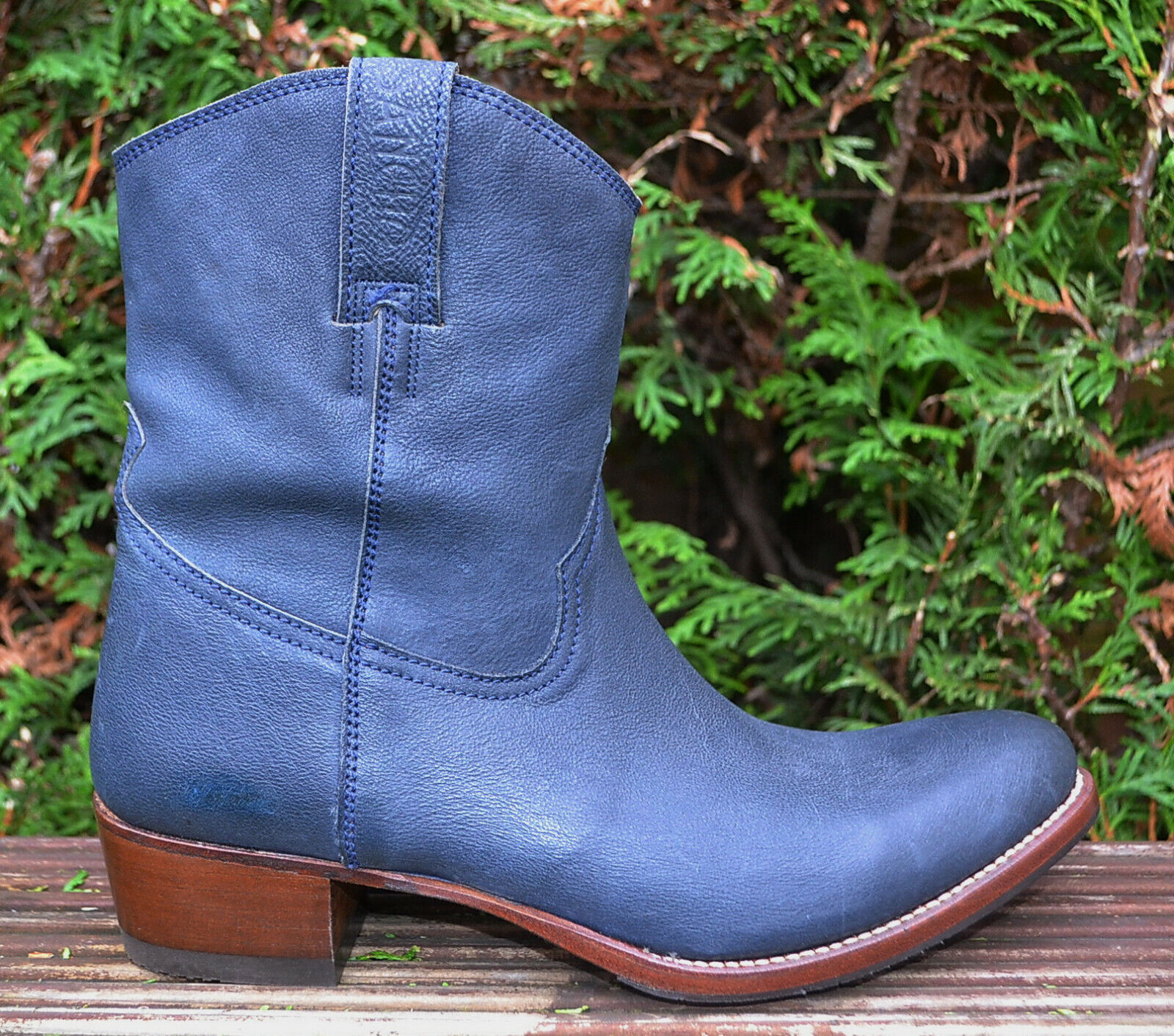 Sancho Gr.39 Stiefeletten Cowboy Stiefel Vintage Style Kurzstiefel Blau