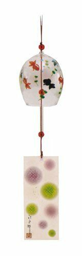 From Japan Edo Furin Glass Wind Chime Bell Gold Fish