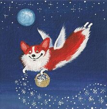 ACEO RYTA PRINT OF PAINTING PEMBROKE WELSH CORGI FOLK ART CHRISTMAS SNOWMAN GIFT