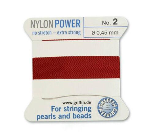 Rojo Granate Nylon Potencia sedoso Hilo 0.45 mm Encordar Perlas Y Cuentas Griffin 2