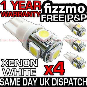 4x-5-SMD-LED-XENON-WHITE-SIDE-LIGHT-BULB-501-W5W-T10-PUSH-WEDGE-FREE-UK-P-amp-P