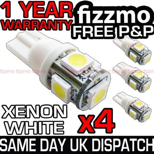 4x 5 SMD LED XENON WHITE SIDE LIGHT BULB 501 W5W T10 PUSH WEDGE FREE UK P/&P